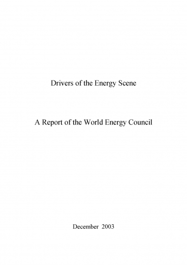 Drivers of the Energy Scene