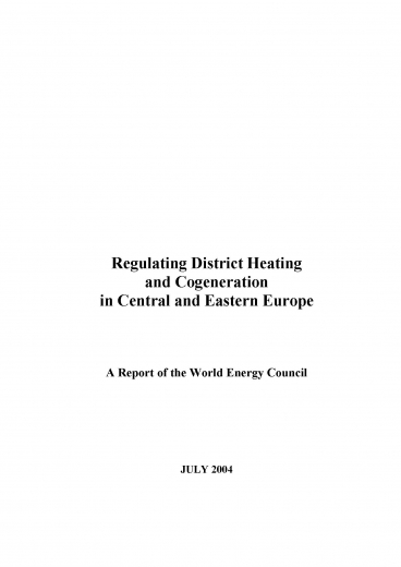Regulating District Heating and Cogeneration in Central and Eastern Europe