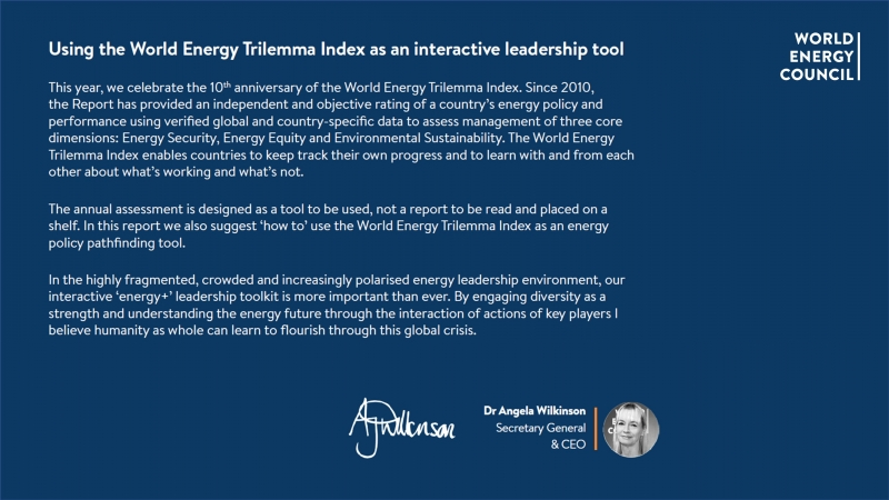 Using the World Energy Trilemma Index as an interactive leadership tool