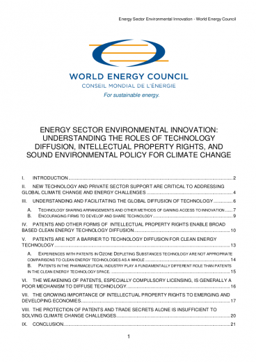 WEC Rules of Trade 2011: Energy Sector Environmental Innovation