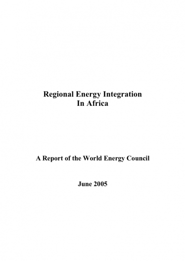 Regional Energy Integration in Africa